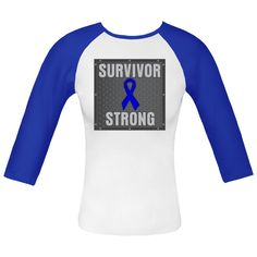 Colon Cancer Survivor Strong shirts, apparel and gifts featuring a blue ribbon on sheet-metal style design for strength and victory