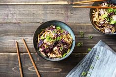 Slurp's Up! Sesame Chicken Noodles with Crunchy Cabbage and a Chilli Oil Drizzle.  Made with Shirataki noodles