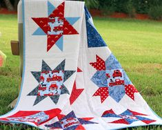 Red White Blue Lap Quilt, baby quilt, American Independence Day Quilt, red vintage firetruck quilt, cottage farmhouse, flag wall hanging Quilt Square Patterns, Pattern Blocks, Square Quilt, Block Patterns, American Independence, Independence Day, Girls Quilts, Baby Quilts, Red White Blue