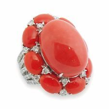 18K White Gold Coral Diamond Ring SZ 7.5 Coral Ring, Turquoise Jewelry, Coral Turquoise, Red Coral, Pandora Jewelry Box, Coral Design, Indian Jewelry, White Gold, Bling