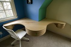 We used input from the kids to create the desks they helped design! More info at http://www.becausewecan.org/kids_study_room