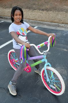 cute ideas for decorating the bikes with ribbon, pipe cleaners, and streamers :)