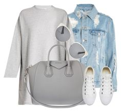 """20:52"" by monmondefou ❤ liked on Polyvore featuring Topshop, Acne Studios, Givenchy, Christian Dior, Converse, white, denim and gray"