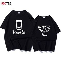 Fashion Brand Couple T-shirt Women Letter Print Tequila Lime Funny T Shirt Loose Summer Tops Casual Tshirt Couple Clothes Cotton - Funny Womens Shirts - Ideas of Funny Womens Shirts - Fashion Brand Couple T-shirt Women Letter Print Tequila Lime Funny T S Bff Shirts, Cute Couple Shirts, Funny Shirts Women, Funny Tshirts, T Shirts For Women, Couple Clothes, Couple Tees, Shirt Print Design, Shirt Designs