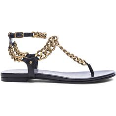 Pierre Balmain Chain Sandals ($288) ❤ liked on Polyvore featuring shoes, sandals, flats sandals, flat heel shoes, pierre balmain shoes, antique shoes and rubber sole shoes