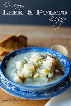 A delicious recipe for Creamy Leek & Potato Soup, perfect for these cold autumn nights!  www.thekitchenwife.net