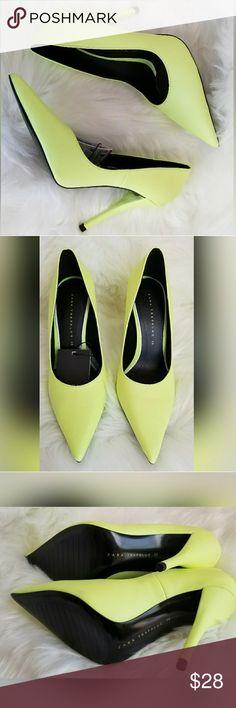 ZARA NEON GREEN HEELS Size 6. New with tags. Zara Shoes Heels