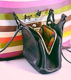 Rare Vintage Coach  Bonnie Cashin Early 1960s Black Leather KissLock Shoulder Bag