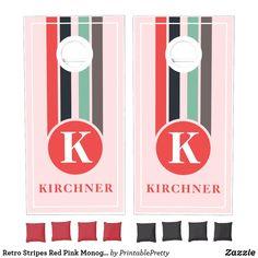 Retro Stripes Red Pink Monogram Family Name Cornhole Set Custom Cornhole Boards, Cornhole Set, Fun Party Games, Corn Hole Game, Red Bags, School Colors, Monogram Initials, Red And Pink, Custom Design