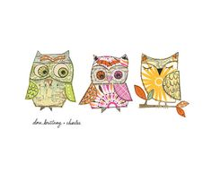 Dora, Brittany and Charles  My (new) favourite three owls ...    10x8 giclee print Archival inks on 400 gms textured watercolour paper  of three of