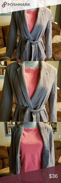 Free People jacket with waist tie. Pre loved and in fantastic shape! Jacket is lightweight. Greyish/green in color. Would look great with almost any color underneath. Shown with salmon colored J.Crew painters tee underneath. Free People Jackets & Coats Pea Coats