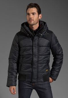 G-Star Whistler Hooded Bomber in Black l wantering.com