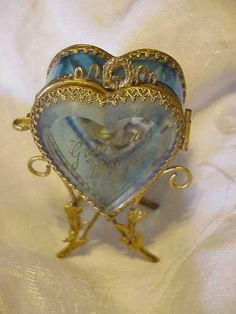 Antique Victorian French Ormolo Heart Shape Glass Watch Jewelry Box Vitrine