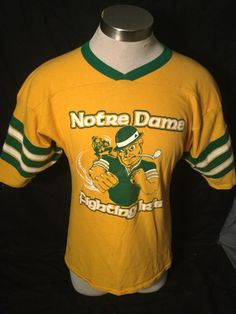 Vintage 1980's  Notre Dame Fighting Irish Bike Jersey T-Shirt by 413productions on Etsy