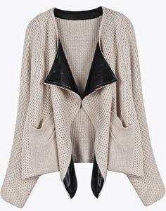 Apricot Contrast PU Leather Lapel Knit Cardigan