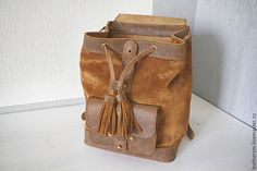 Купить Кожаный рюкзак - однотонный, рюкзак ручной работы, рюкзак кожаный, рюкзак женский, рюкзачок