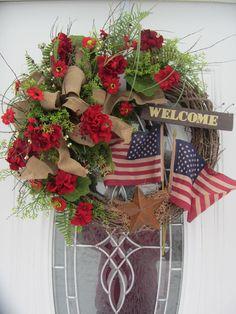 Memorial Day Wreath, Patriotic Wreath, Summer Wreath, 4th of July Wreath, Geranium Wreath   Festive patriotic wreath with hand painted