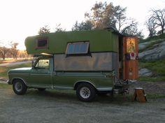 Kitty & Rocket - homemade truck camper.