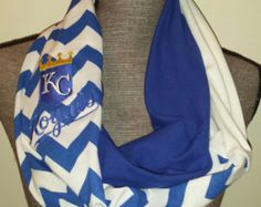 KC ROYALS Infinity Scarf, Chevron Print, 3 Color Scarf, Embroidered MLB Logo