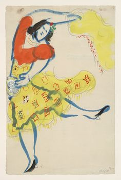 """Chagall left Paris for the US in 1941, & the following year the choreographer Léonide Massine asked him to design a new ballet based on Pushkin's poem """"The Gypsies."""" Chagall was eager to work on this Russian-themed ballet, which tells the story of Aleko, a young man who falls in love with the gypsy girl Zemphira, but eventually kills her. This is custome for the Gypsy, (Scene I)  Marc Chagall"""