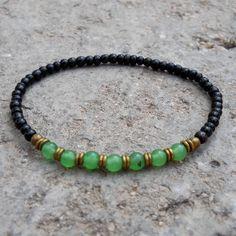 Ebony and aventurine mala bracelet with African trade beads by #lovepray #jewelry