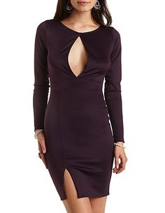 Scuba Bodycon Dress with Cut-Out: Charlotte Russe