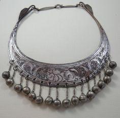 Vintage Unique Engraved Metal Bibb Necklace with by SecondWindShop, $25.00