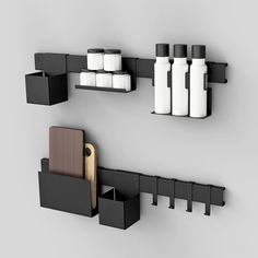 | K I T C H E N R A C K Build your own favorite Rack Choose between: Racks | 40-100cm Accessories | flower/herb box | spice holder | cutting board holder | dishtowel hooks | and more... Colors | black | white Ready for sale this spring! Psssst! - the Spice holder fits Vahé products #kitchen #rack #kitchenrack #cuttingboard #spice #build by juncher_design