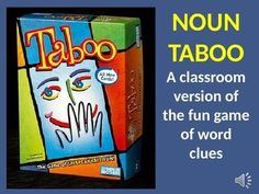 """~ NOUN """"TABOO"""" WORD GAME: REVIEW AND PRACTICE NOUNS AND SYNONYMS ~ There are only so many ways students can practice thinking about nouns.  After you've done all the worksheets and sentence strips, try this fun activity!Noun """"Taboo"""" is styled after the popular game of word clues.  Students receive clues to help them guess a mystery word, but each mystery answer lists five forbidden words that cannot be used as clues."""