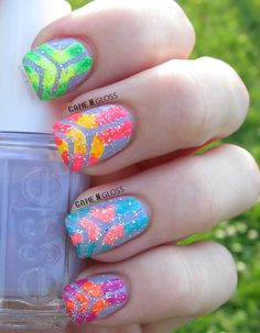 Cool nails for summer #neon #nails Facebook @ GAME N GLOSS