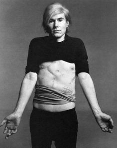 Andy Warhol by Richard Avedon. After being shot by Valerie Solanis, Andy would wear a girdle or belt for the rest of his life in order to keep himself together.