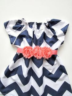 Baby Girl Navy Chevron Dress, Navy and Coral