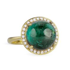 "Ray Griffiths Green Tourmaline Cabochon ""Crown Pattern"" Ring with Pave Diamonds"
