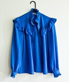 Vintage 1970s Blouse Womens Cerulean Cobalt Blue Button up Ruffle Blouse