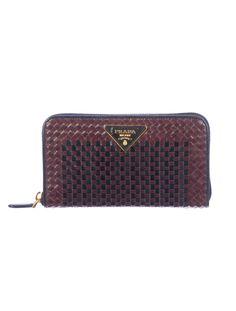 Basket Case: Prada Basketweave Wallet. (TheRealReal.com)