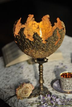 Unique Golden Table Lamp Paper Pulp Table Lamp by DolcheTodolche