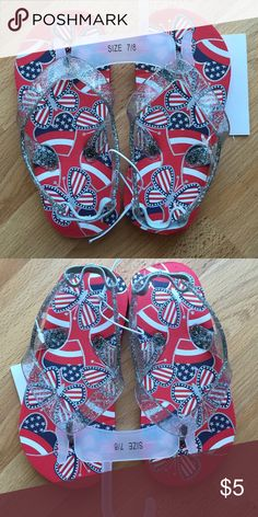 NWT Babies R Us flip flops Red, white, and blue flip flops from Babies R Us.  Size 7/8.  New with tags! Shoes Sandals & Flip Flops