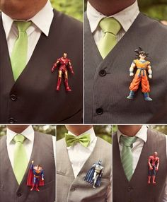 Unique #Boutonniere Ideas for a Wedding or Prom - #boutonnieres- (action figures)