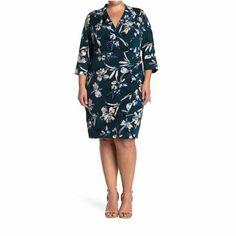 Eliza J Womens Dark Green V-Neck Floral Sheath Dress Fall Plus Size 20W NWT #ElizaJ #Sheath #BusinessCasualFormalHolyCommunionPartyCocktailTravelWeddingWorkwear Eliza J Dresses, Plus Size Dresses, Floral Sheath Dress, Fall Dresses, V Neck Dress, Nordstrom Dresses, Types Of Sleeves, Plus Size Fashion, Work Wear