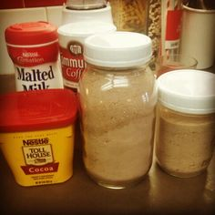 Heloise Homemade Hot Chocolate - 2 c. powdered milk, 1/4 c. cocoa, 1 c powdered sugar, dash of salt, 1/3 c. powdered creamer, 1-2 T malted milk powder; add 1/4 cup of the mix to hot water