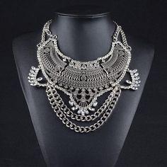 Statement Silver Maxi Chain Choker Necklace