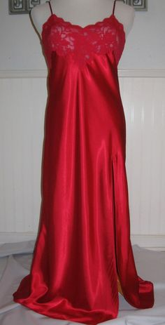 Victoria's Secret Nightgown Sm Long Romantic Red w/ Lace, Lingerie Nightie #VictoriasSecret #Gowns  i.ebayimg.com