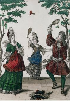 One popular game played in public and private pleasure gardens & garden parklands was Battledore and Shuttlecock. Louis Xiv, 17th Century Fashion, 18th Century, History Of Badminton, History Cartoon, French Images, South Indian Jewellery, Gold Jewellery, Saint Jean