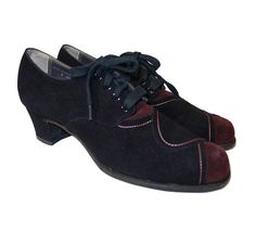 SOLD 1930s Two Tone Suede Lace Up Shoes