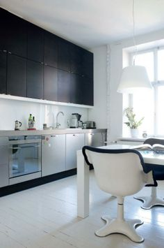 Black and white modern. Double Vanity, Decoration, Chrome, Black And White, Wood, Modern, Kitchen, House, Home Decor