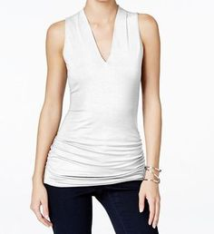 "INC Sleeveless V Neck Top-Soft Comfy Fitted! v neckline, pullover style, ruched at sides, fitted, hits at hip, rayon/spandex, lining nylon, machine wash,  size xs is size 0 bust 33"" waist 25""/size 2 bust 34"" waist 25"", white, (double layer in front, SINGLE layer in back, white shows bra/back bulge in back) Macy's (xs)"