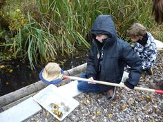 Young explorers make an intrepid journey through the wild landscape of College Lake