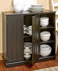 Country Home Kitchen Decorative Storage Display Cabinet with BeadBoard Doors Furniture Unit Kitchen Display Cabinet, Sideboard Cabinet, Door Furniture, Home Office Furniture, Cream Furniture, Furniture Ideas, Bathroom Storage Shelves, Storage Cabinets, Storage Units