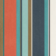 Bella Stripe Coral / Gold / Turquoise wallpaper by Harlequin