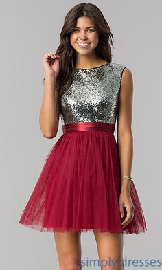 Silver-Sequin and Burgundy Short Homecoming Dress